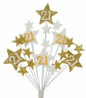 Star age 21st birthday cake topper decoration in gold and white - free postage